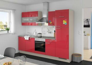 Kleine, Rote Küchenzeile Im Klassischen Stil Mit Grauer Arbeitsplatte
