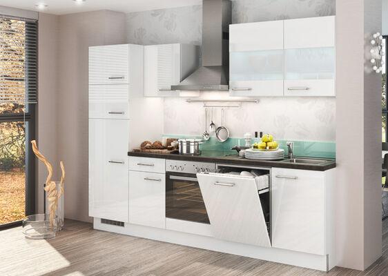 Weiße Küchenzeile Im Klassischen Stil Mit Hochglanz Fronten