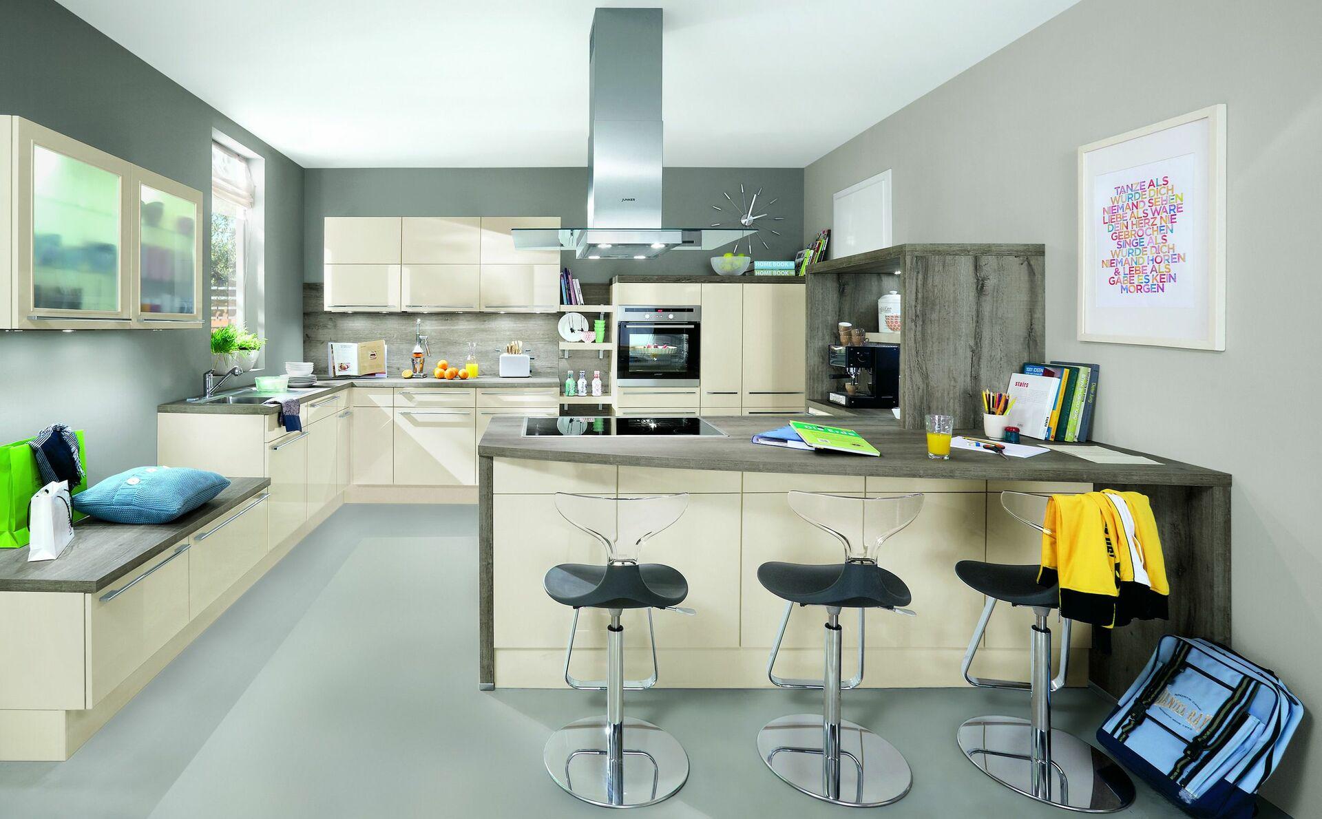Großartig Küche Beige Sammlung Von Wohnküche Mit Sitzmöglichkeiten