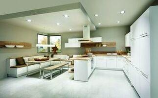 Weiße Wohnküche Im Modernen Stil Mit Essgruppe